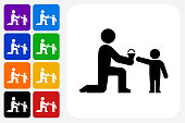 Giving Ice-cream Icon Square Button Set. The icon is in black on a white square with rounded corners. The are eight alternative button options on the left in purple, blue, navy, green, orange, yellow, black and red colors. The icon is in white against these vibrant backgrounds. The illustration is flat and will work well both online and in print.