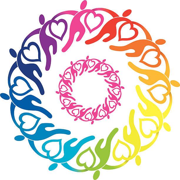Giving Love Circle vector art illustration