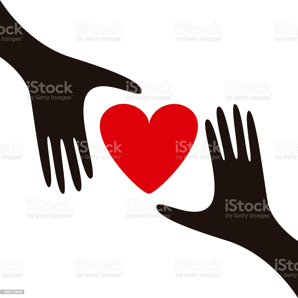 Giving love to others vector art illustration
