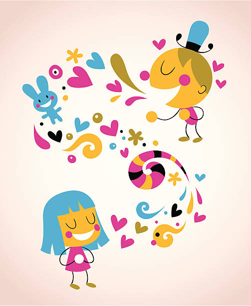 illustrazioni stock, clip art, cartoni animati e icone di tendenza di dare amore - kids kiss embarrassed