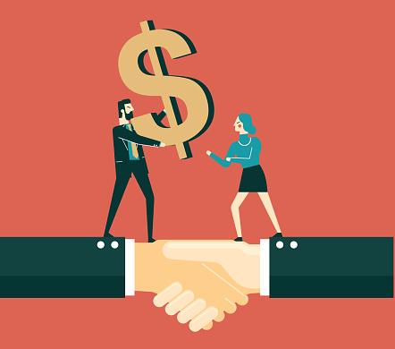 Giving money - Businesswoman