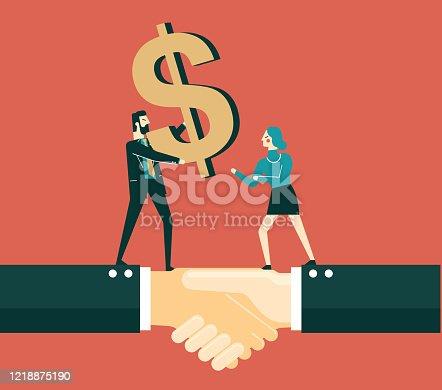 Businessman's hands taking dollar symbol, flat illustration on blue background