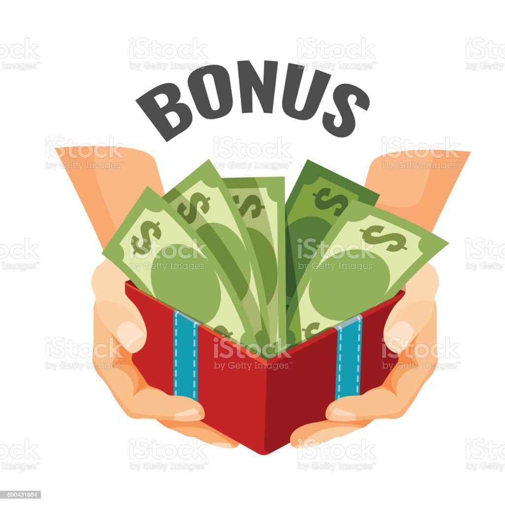 Giving money in open present box with dollar banknotes, bonus vector art illustration