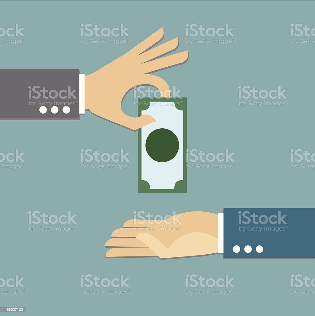 Giving money vector art illustration