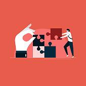 giving proper solution concept, team work illustration, businessman solving the problem with team