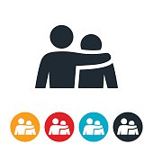 An icon of a person with their arm around a rejected and sad person. The icons represents the support and strength a person can give to help another in need.