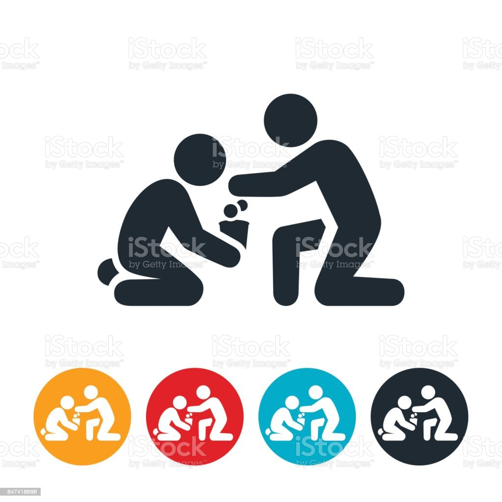 Giving To Homeless Icon vector art illustration