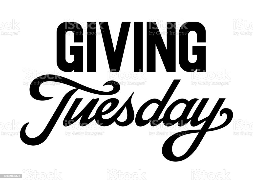 Giving Tuesday brush hand lettering art. Script style letters on isolated background. Black and white. Vector text illustration t shirt design, print, poster, icon, web, graphic designs. Giving Tuesday brush hand lettering art. Script style letters on isolated background. Black and white. Vector text illustration t shirt design, print, poster, icon, web, graphic designs. Abstract stock vector