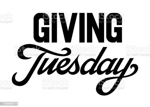 Giving Tuesday Brush Hand Lettering Art Script Style Letters On Isolated Background Black And White Vector Text Illustration T Shirt Design Print Poster Icon Web Graphic Designs Stock Illustration - Download Image Now