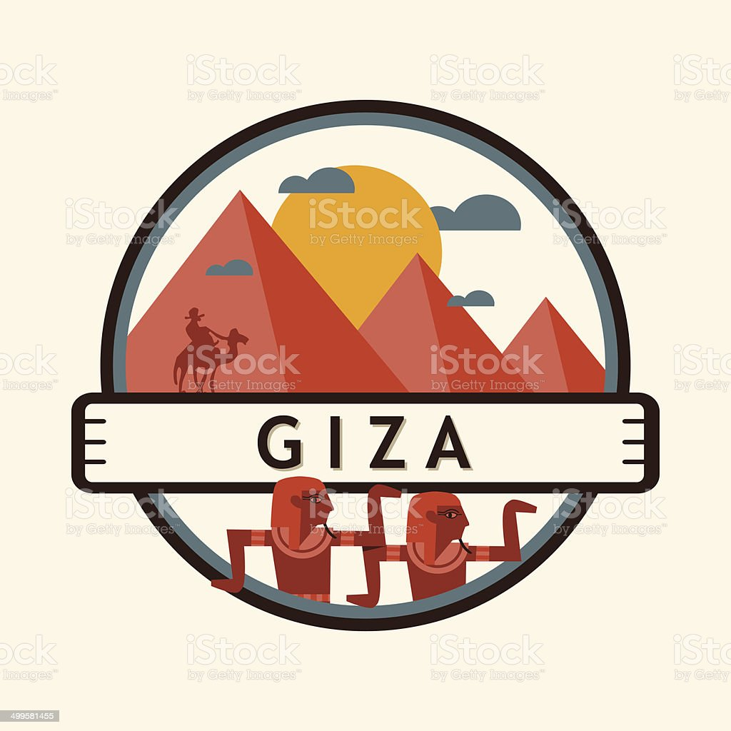 Giza city badge, Egypt vector art illustration