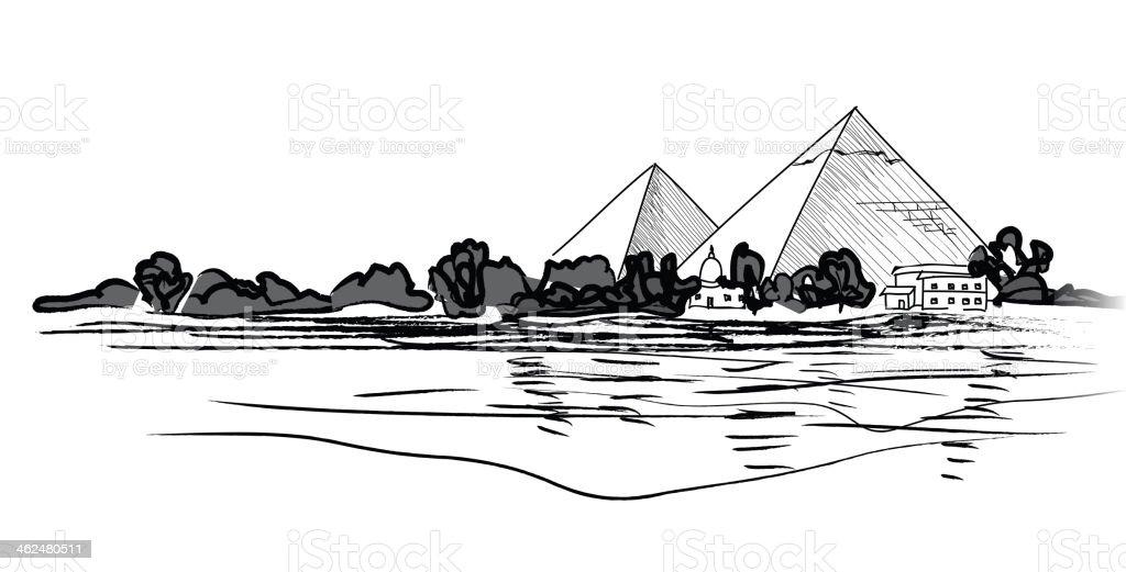 Giza Pyramids. Egypt landmark. vector art illustration