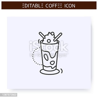 istock Glace coffee line icon. Editable illustration 1287572502
