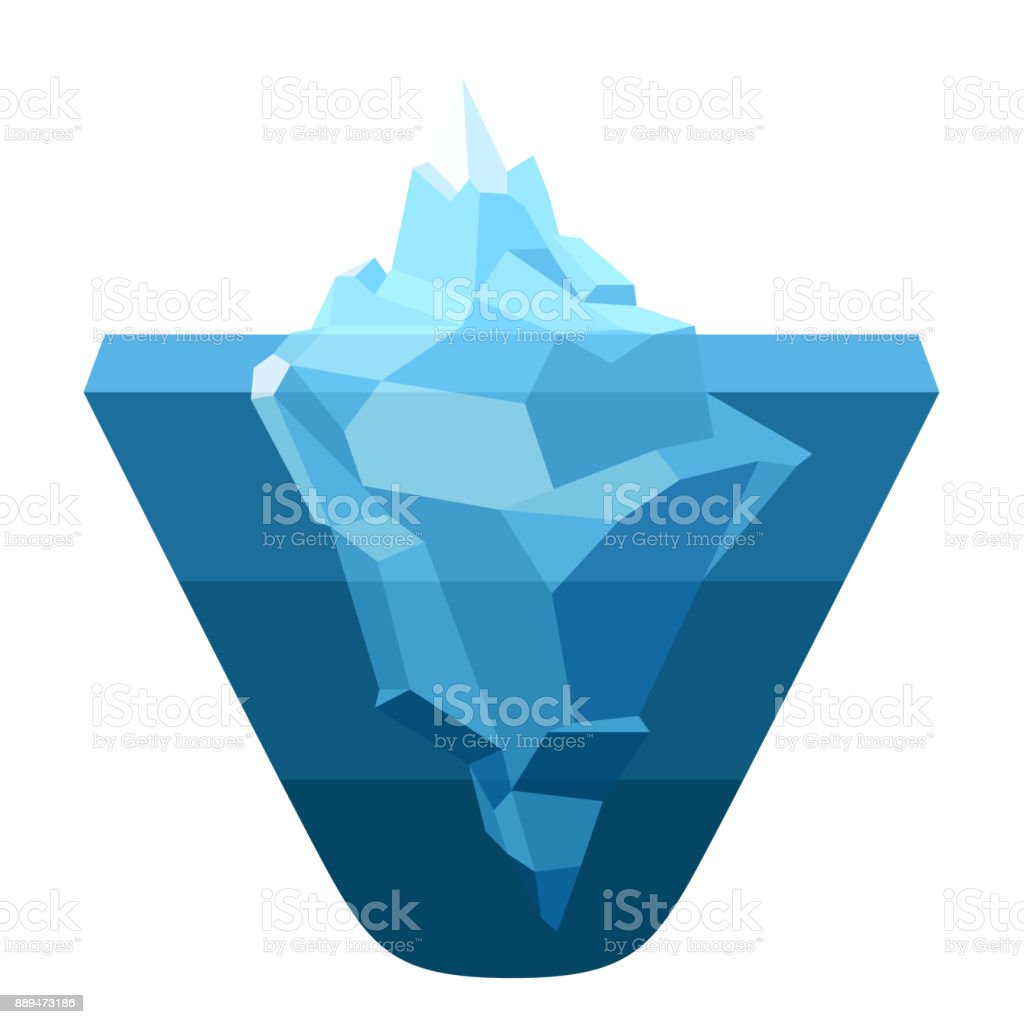 Glacier, melting moving ice cube vector art illustration