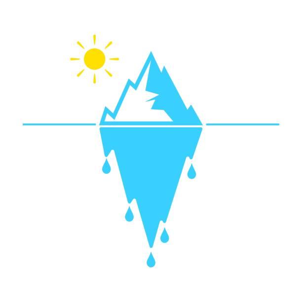 ilustrações de stock, clip art, desenhos animados e ícones de glacier melting vector icon on white background - iceberg