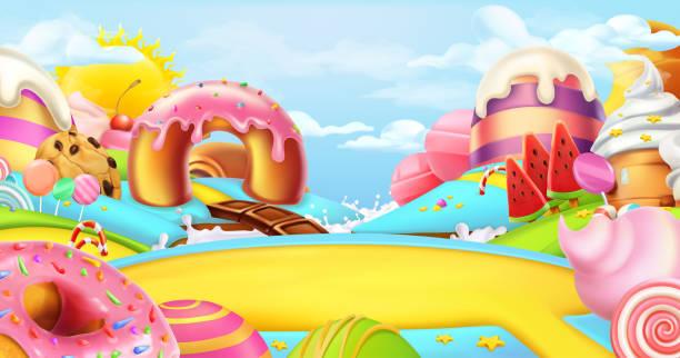 在糖果的空地。甜 worldscape, 3d 向量全景圖 - 陸地 幅插畫檔、美工圖案、卡通及圖標