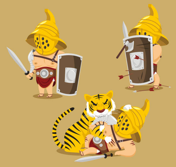 Gladiator defeated by tiger Gladiator defeated by tiger, vector illustration cartoon. mount combatant stock illustrations