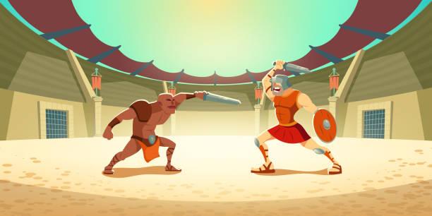 Gladiator-Kampf mit Barbaren auf Kolosseum-Arena – Vektorgrafik