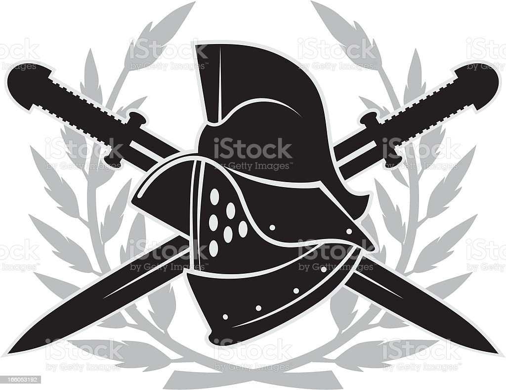 Gladiator helmet emblem royalty-free stock vector art