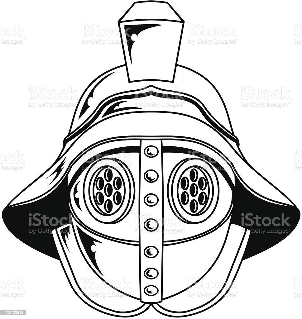 Gladiator helmet illustration royalty-free stock vector art