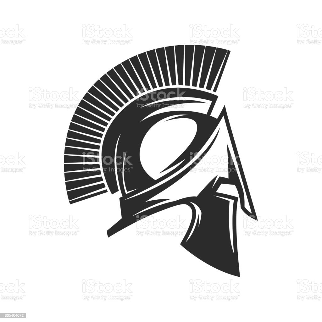 Gladiator helmet. Spartan helm vector art illustration