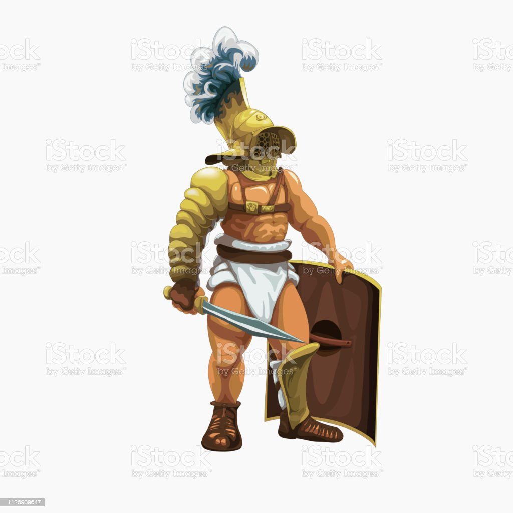 Gladiator murmillo getting ready to perform in the arena, vector...