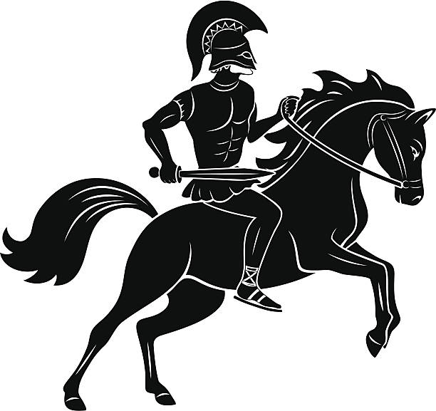 gladiator - reiter stock-grafiken, -clipart, -cartoons und -symbole