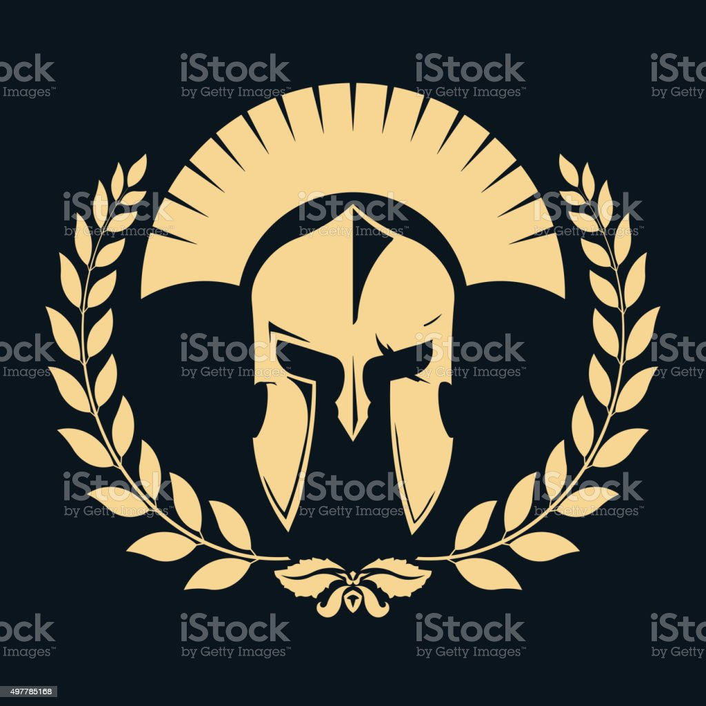 Gladiator silhouette with laurel wreath vector art illustration
