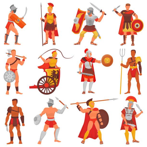 illustrations, cliparts, dessins animés et icônes de gladiator vector caractère guerrier romain en armure avec une épée ou une arme et bouclier en jeu d'illustration rome antique de l'homme grec warrio guerre isolé sur fond blanc - rome