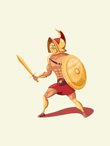 Gladiator warrior isolated vector illustration
