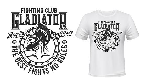 Gladiator warrior tshirt print, fight club mascot