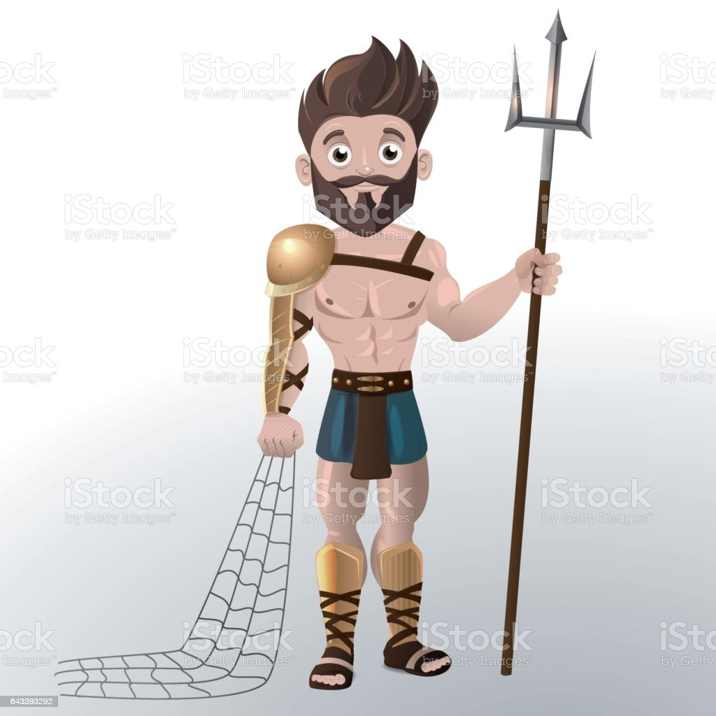 Gladiator with trident and net vector art illustration