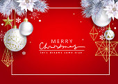Glam Christmas card with white spruce on red background