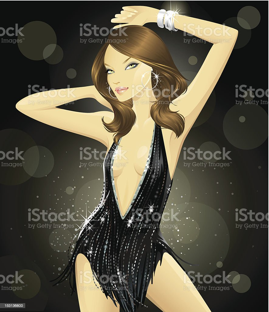 Glam Goddess (Brunette) vector art illustration