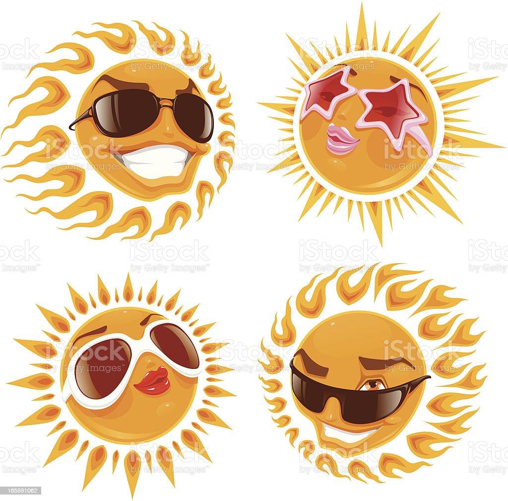 Glamor suns vector art illustration