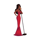 Glamorous African American female singer, cartoon vector illustration isolated on white background. Full height portrait of posh black woman in red evening dress singing to a microphone