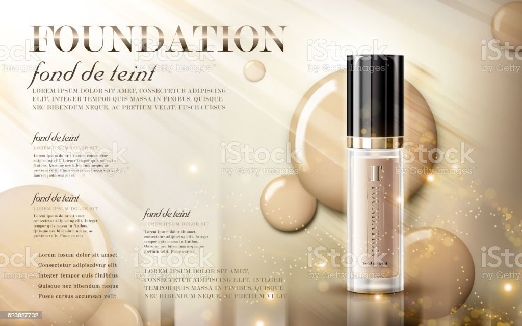 Glamorous foundation ads vector art illustration