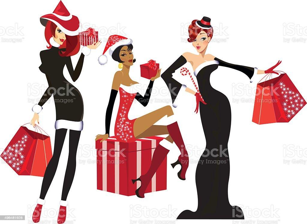 Glamouröse Mädchen Mit Weihnachtsgeschenke Vektor Illustration ...