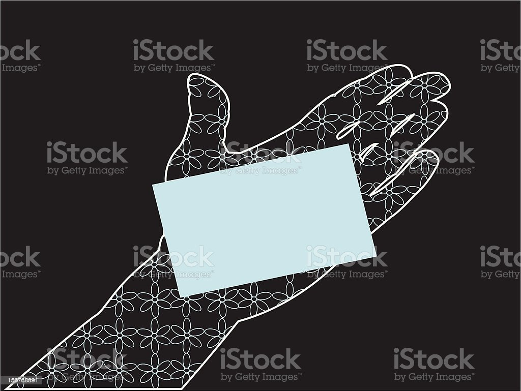 Glamorous hand holding card - blue royalty-free stock vector art