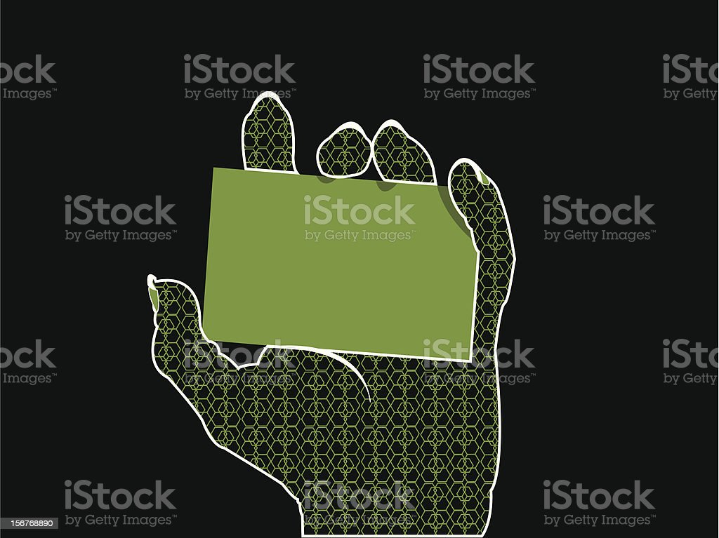 Glamorous hand holding card - green royalty-free glamorous hand holding card green stock vector art & more images of black color