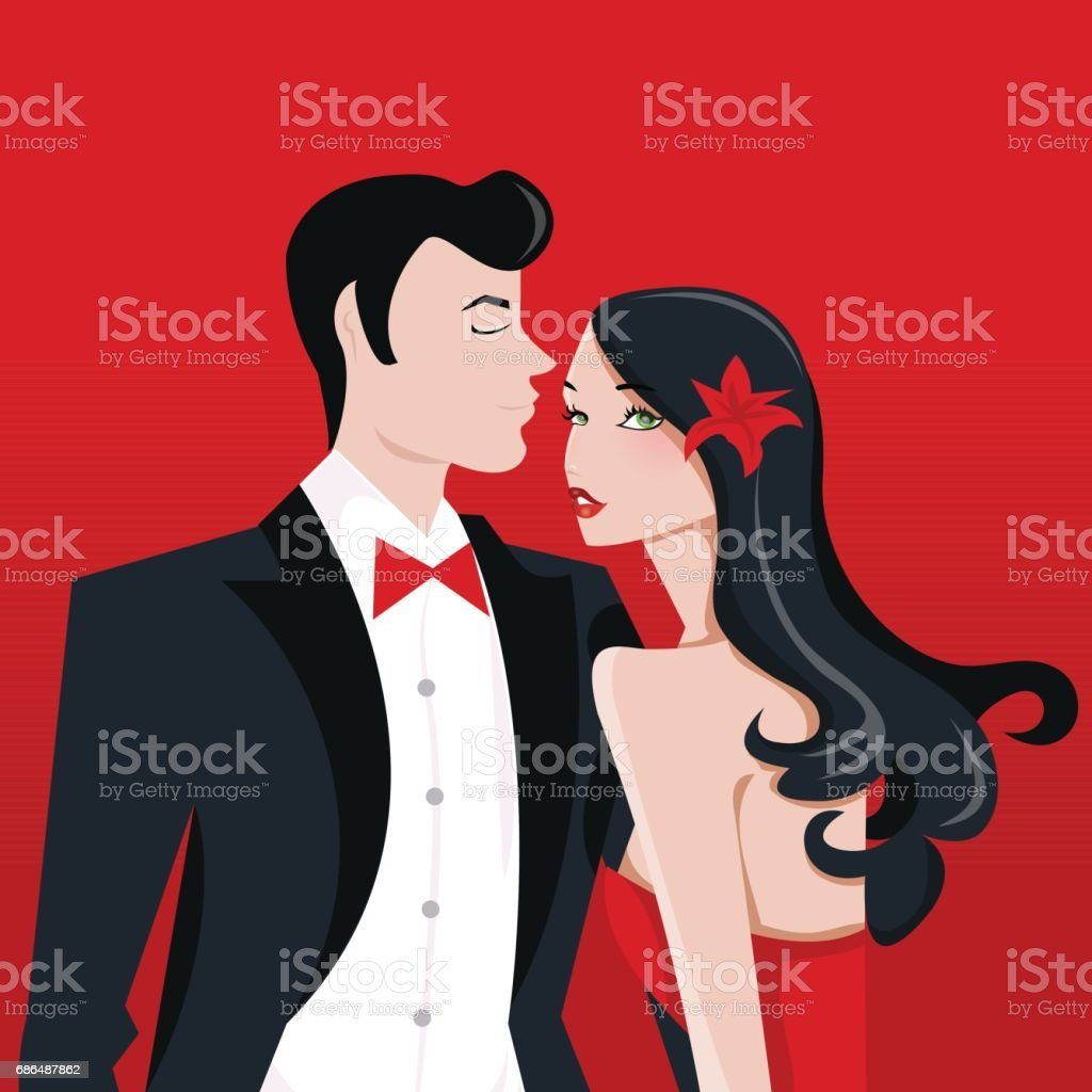 Glamorous Lady With Long Black Hair And Man in Tuxedo Suit vector art illustration