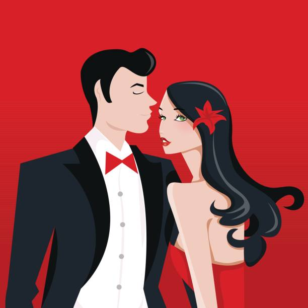 ilustrações, clipart, desenhos animados e ícones de glamourosa, dama com longos cabelos negros e o homem no terno smoking - baile de graduação