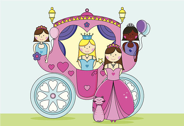 Glamorous Princesses Going to the Ball in a Carriage. vector art illustration