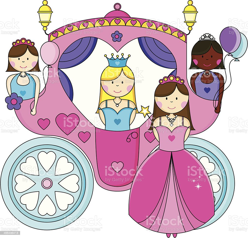 Glamorous Princesses Going to the Ball in a Carriage. royalty-free glamorous princesses going to the ball in a carriage stock vector art & more images of african ethnicity