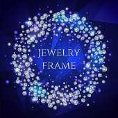 Glamorous Banner For Your Text With Sparkling Diamonds Scattered In A Circle On A Dark Stylish Background.