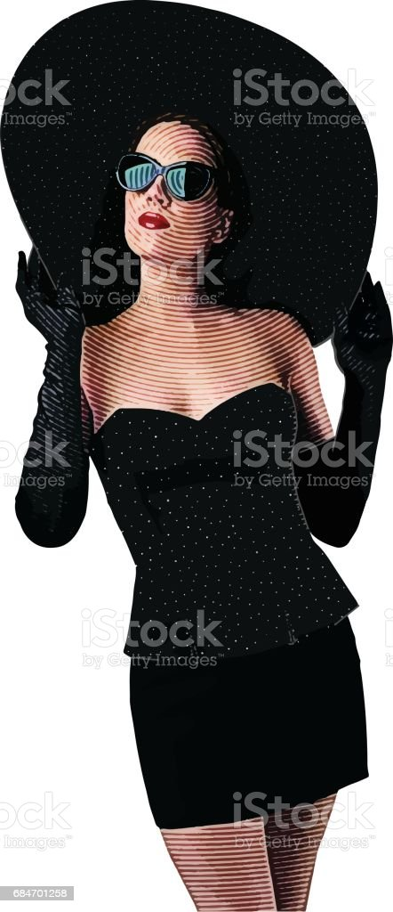 Glamorous well dressed woman wearing wide brim hat and evening gloves vector art illustration