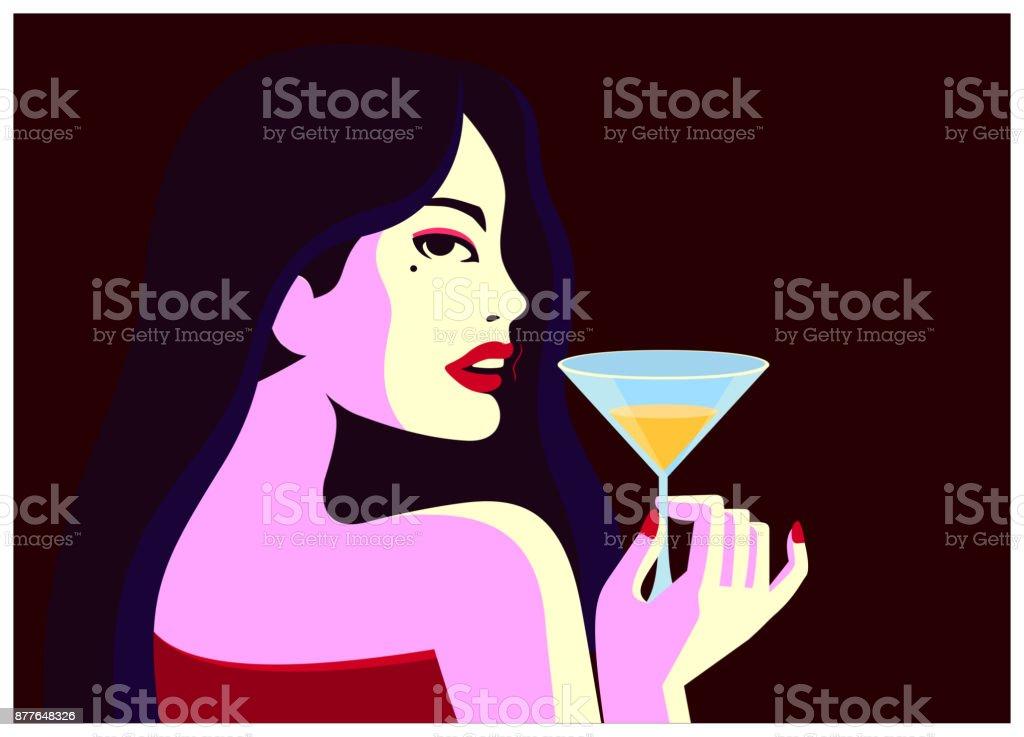 Glamorous woman drinking cocktail glass minimal vector illustration vector art illustration