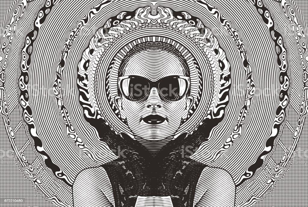 ハーフトーン パターン背景フレームを持つ魅力的な女性 ベクターアートイラスト