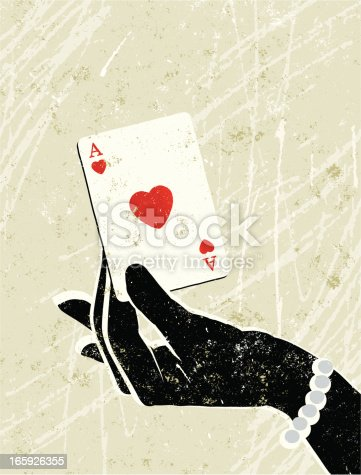 istock Glamorous Woman's Hand Holding an Ace of Hearts Playing Card 165926355