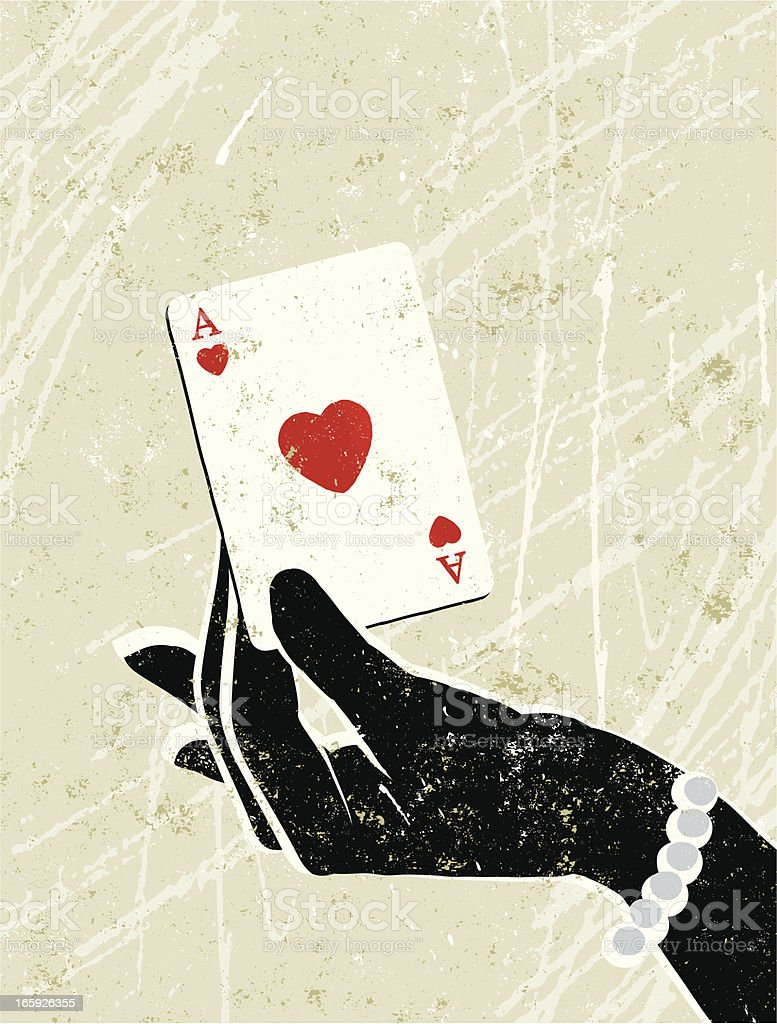 Glamorous Woman's Hand Holding an Ace of Hearts Playing Card vector art illustration