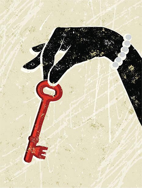 ilustrações, clipart, desenhos animados e ícones de elegante mulher segurando uma chave - desenhos aleatórios e à mão livre